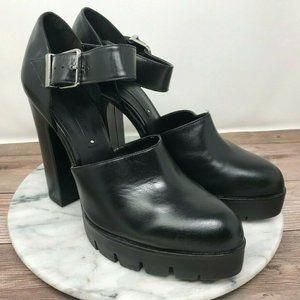 Zara Woman Black Leather Platform Mary Janes